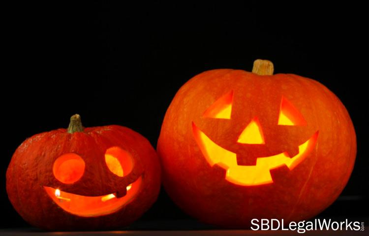 two glowing Halloween jack-o-lanterns